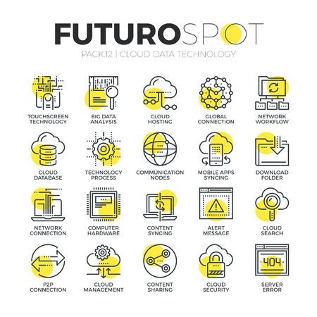 Stroke line icons set of cloud computing big data network technology. Modern flat linear pictogram concept. Premium quality outline symbol collection. Simple vector material design of web graphics. Ilustração