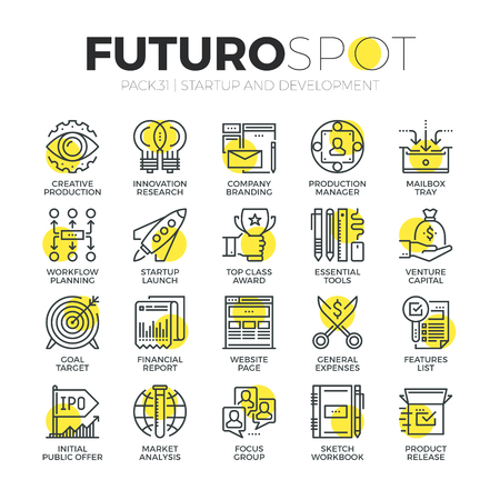 Stroke line icons set of business startup, market vision and brand mission. Modern flat linear pictogram concept. Premium quality outline symbol collection. Simple vector material design of web graphics. Vettoriali