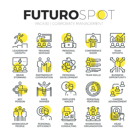 Stroke line icons set of business leadership training and corporate career. Modern flat linear pictogram concept. Premium quality outline symbol collection. Simple vector material design of web graphics. Ilustração