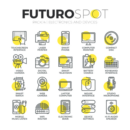Stroke line icons set of computer electronics and home multimedia devices. Modern flat linear pictogram concept. Premium quality outline symbol collection. Simple vector material design of web graphics. Vettoriali