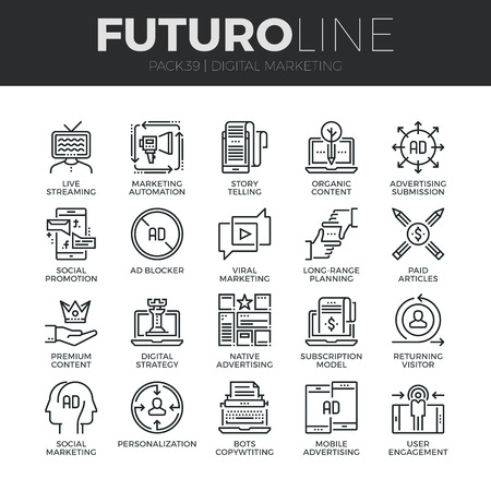 Modern thin line icons set of digital marketing, live streaming and advertising. Premium quality outline symbol collection. Simple mono linear pictogram pack. Stroke vector logo concept for web graphics. Vettoriali