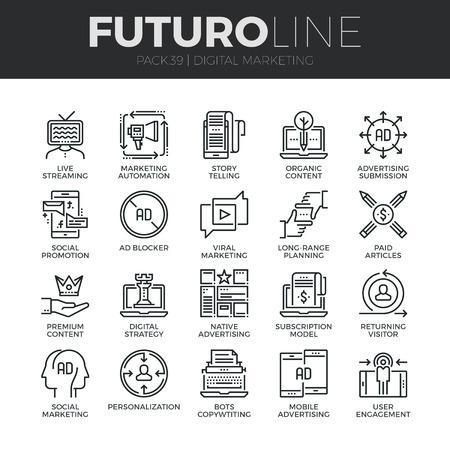 iconos de líneas finas Conjunto moderno del marketing digital, la emisión en directo y la publicidad. calidad de la captación símbolo del esquema de suscripción. paquete pictograma mono lineal simple. Tiempos de vectores logotipo de concepto para gráficos web.