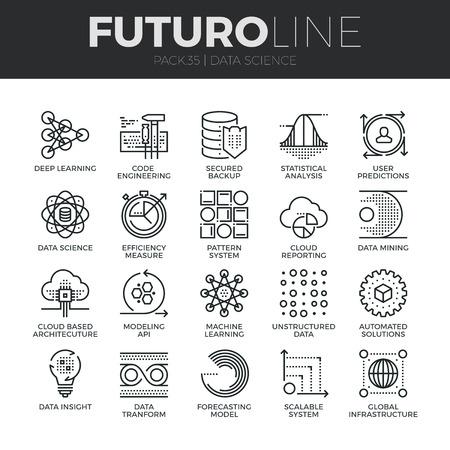 データ科学技術と機械学習過程のモダンな細い線のアイコンを設定します。プレミアム品質のアウトライン シンボルのコレクションです。簡単なモノラル リニア絵文字パック。Web グラフィックのストロークのベクトルのロゴのコンセプト。