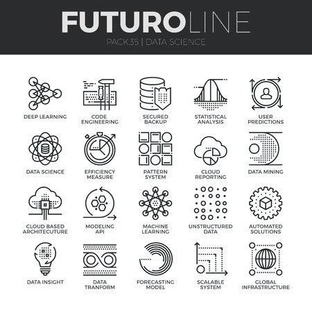 design symbols: Modern thin line icons set of data science technology and machine learning process. Premium quality outline symbol collection. Simple mono linear pictogram pack. Stroke vector logo concept for web graphics. Illustration