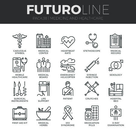 Modern thin line icons set of healthcare professionals and medical equipment. Premium quality outline symbol collection. Simple mono linear pictogram pack. Stroke vector logo concept for web graphics.
