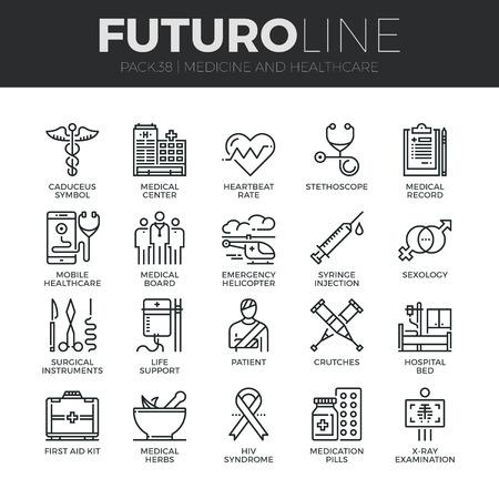 consulta médica: iconos de líneas delgadas modernas conjunto de profesionales de la salud y equipo médico. calidad de la captación símbolo del esquema de suscripción. paquete pictograma mono lineal simple. Tiempos de vectores logotipo de concepto para gráficos web.