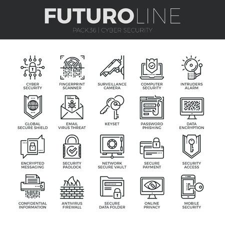 icônes de lignes minces modernes définies de la cyber-sécurité, la protection des réseaux informatiques. Premium collection symbole de plan de la qualité. Pack simple pictogramme mono linéaire. vecteur de maladies logo concept pour des graphiques Web.