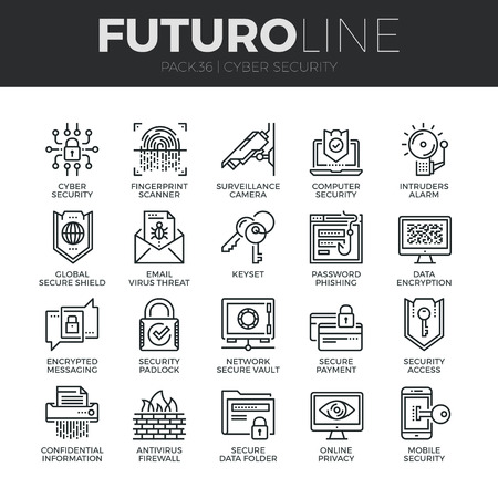 Modern thin line icons set of cyber security, computer network protection. Premium quality outline symbol collection. Simple mono linear pictogram pack. Stroke vector logo concept for web graphics. Ilustração