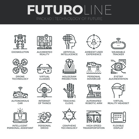 ingenieria industrial: iconos de líneas finas Conjunto moderno de la tecnología del futuro y los robots de inteligencia artificial. calidad de la captación símbolo del esquema de suscripción. paquete pictograma mono lineal simple. Tiempos de vectores logotipo de concepto para gráficos web.