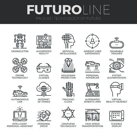 技術: 現代細線圖標集未來的技術和人工智能機器人。優質大綱符號集合。簡單的單線形象形包。行程矢量標誌概念Web圖形。 向量圖像