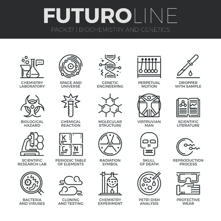 genetic modification: Modern thin line icons set of biochemistry research, biology laboratory experiment. Premium quality outline symbol collection. Simple mono linear pictogram pack. Stroke vector logo concept for web graphics. Illustration