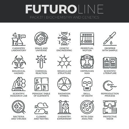 Moderne dünne Linie Icons Set der Biochemie Forschung, Biologie Laborexperiment. Premium-Qualität Umriss Symbolsammlung. Einfache Mono linear Piktogramm Pack. Stroke-Vektor-Logo-Konzept für Web-Grafiken.