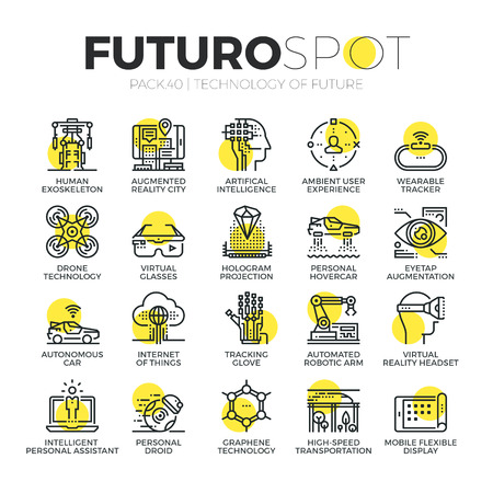 VIRTUAL REALITY: Stroke line icons set of future technology and AI innovations for humans. Modern flat linear pictogram concept. Premium quality outline symbol collection. Simple vector material design of web graphics.