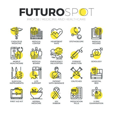 Stroke line icons set of healthcare professionals and medical equipment. Modern flat linear pictogram concept. Premium quality outline symbol collection. Simple vector material design of web graphics.