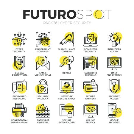 Stroke line icons set of computer network protection and cyber security. Modern flat linear pictogram concept. Premium quality outline symbol collection. Simple vector material design of web graphics. Vettoriali