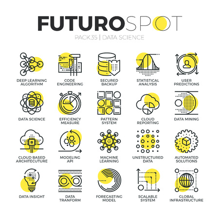 future business: Stroke line icons set of AI machine learning and data science technology. Modern flat linear pictogram concept. Premium quality outline symbol collection. Simple vector material design of web graphics. Illustration