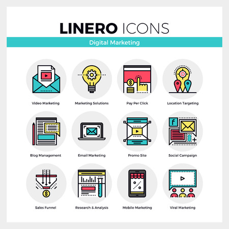 Line icons set of digital marketing and viral advertising. Modern color flat design linear pictogram collection. Outline vector concept of mono stroke symbol pack. Premium quality web graphics material. Vettoriali