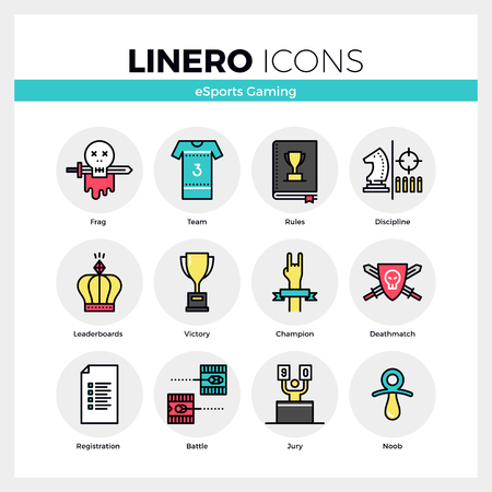 Line icons set of esports gaming, online cybersport games. Modern color flat design linear pictogram collection. Outline vector concept of mono stroke symbol pack. Premium quality web graphics material. Ilustração