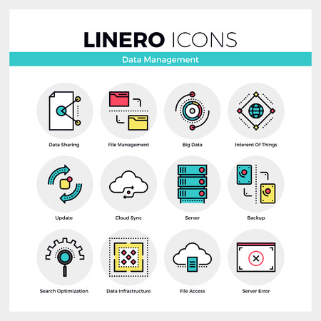 syncing: Line icons set of network data management, system backup. Modern color flat design linear pictogram collection. Outline vector concept of mono stroke symbol pack. Premium quality web graphics material.