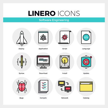 アプリのデバッグのためのソフトウェア エンジニア リング ツールの線アイコン セット。現代の色フラット設計線形絵文字コレクション。モノラル   イラスト・ベクター素材