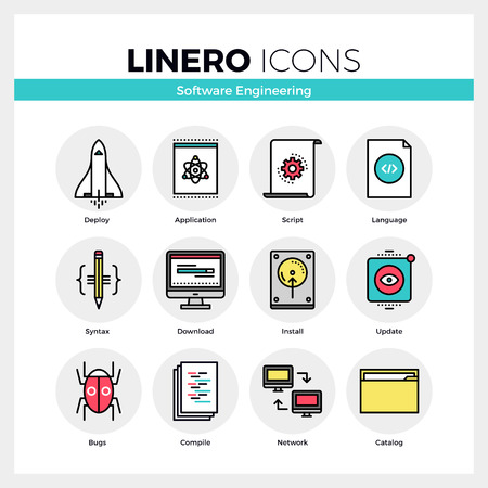 application software: Line icons set of software engineering tools for app debug. Modern color flat design linear pictogram collection. Outline vector concept of mono stroke symbol pack. Premium quality web graphics material.