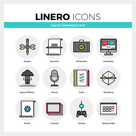 Line icons set of video game development making process. Modern color flat design linear pictogram collection. Outline vector concept of mono stroke symbol pack. Premium quality web graphics material. Ilustração