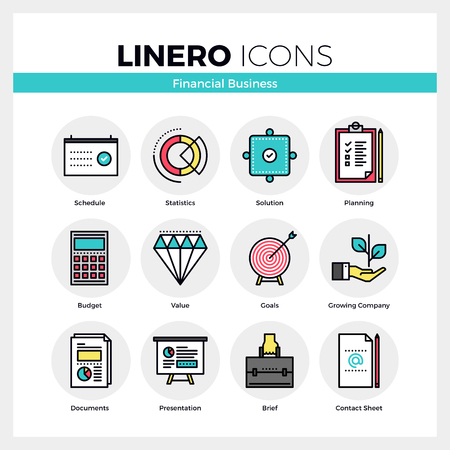 Line icons set of financial business for company growth. Modern color flat design linear pictogram collection. Outline vector concept of mono stroke symbol pack. Premium quality web graphics material.
