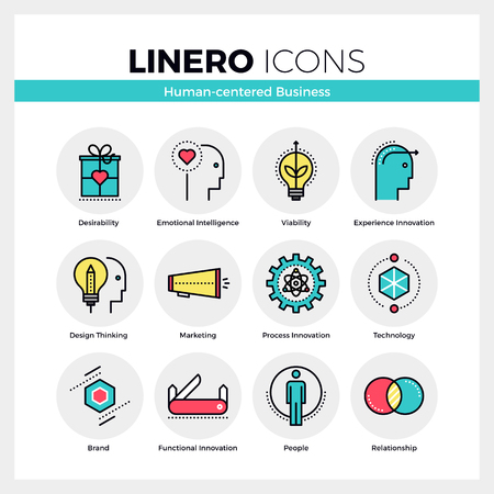 Line icons set of human-centered business, brand model. Modern color flat design linear pictogram collection. Outline vector concept of mono stroke symbol pack. Premium quality web graphics material. Vettoriali
