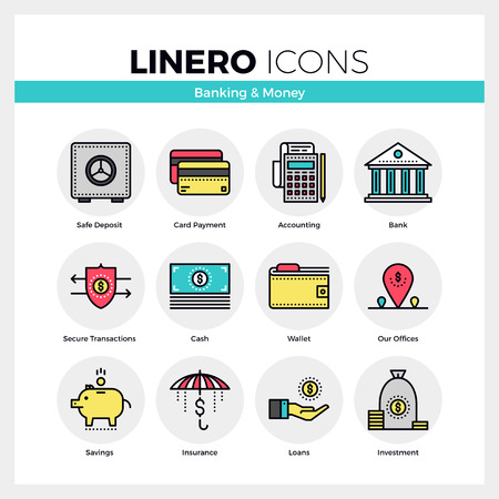 Line icons set of banking services and money savings. Modern color flat design linear pictogram collection. Outline vector concept of mono stroke symbol pack. Premium quality web graphics material.
