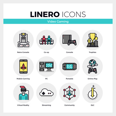 pc icon: Line icons set of video gaming platform, computer games. Modern color flat design linear pictogram collection. Outline vector concept of mono stroke symbol pack. Premium quality web graphics material.