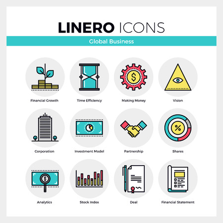 building plan: Line icons set of global business, partnership corporation. Modern color flat design linear pictogram collection. Outline vector concept of mono stroke symbol pack. Premium quality web graphics material. Illustration
