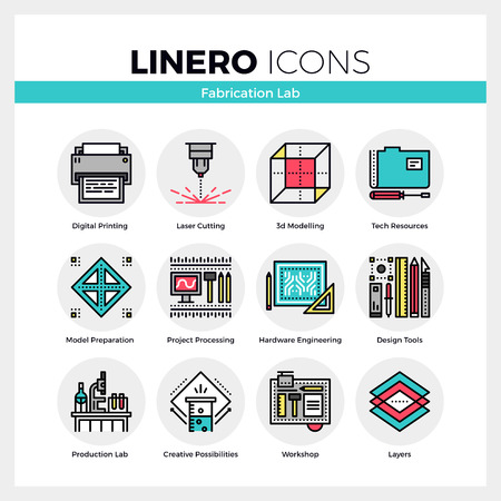fab: Line icons set of fabrication laboratory, hardware engineering. Modern color flat design linear pictogram collection. Outline vector concept of mono stroke symbol pack. Premium quality web graphics material.