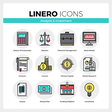 Line icons set of business analysis and market investment. Modern color flat design linear pictogram collection. Outline vector concept of mono stroke symbol pack. Premium quality web graphics material. Ilustracja