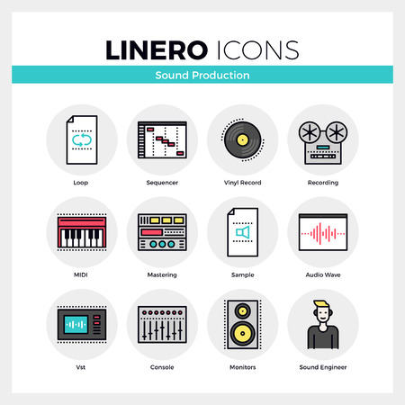 audio mixer: Line icons set of sound production and audio mastering. Modern color flat design linear pictogram collection. Outline vector concept of mono stroke symbol pack. Premium quality web graphics material.