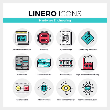 hardware: Line icons set of hardware engineering technology production. Modern color flat design linear pictogram collection. Outline vector concept of mono stroke symbol pack. Premium quality web graphics material.