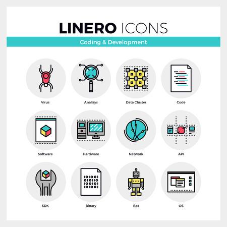 hardware: Iconos de comunicación conjunto de codificación web para software y hardware. de color moderno diseño plano colección pictograma lineal. Esquema del vector del concepto de accidente cerebrovascular mono símbolo paquete. calidad de la materia prima de gráficos para la web.