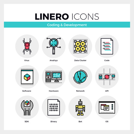 hardware: Line icons set of web coding for software and hardware. Modern color flat design linear pictogram collection. Outline vector concept of mono stroke symbol pack. Premium quality web graphics material.