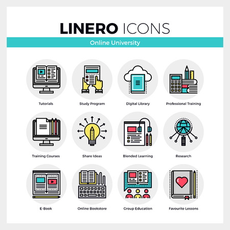 Line icons set of online university learning, group study. Modern color flat design linear pictogram collection. Outline vector concept of mono stroke symbol pack. Premium quality web graphics material.