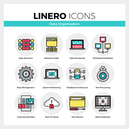 Line icons set of database organization, data management. Modern color flat design linear pictogram collection. Outline vector concept of mono stroke symbol pack. Premium quality web graphics material. Иллюстрация