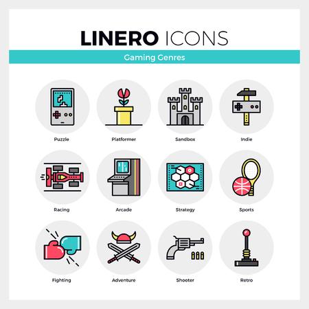 Line iconen set van video game genres, retro computer gaming. Modern kleur plat design lineaire pictogram collectie. Schetsen vector concept van de mono slag symbool verpakking. Premium kwaliteit web graphics materiaal.