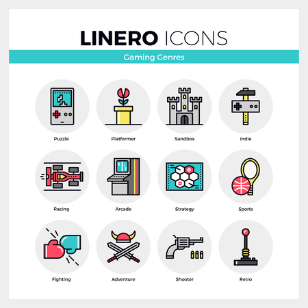 action: Line icons set of video game genres, retro computer gaming. Modern color flat design linear pictogram collection. Outline vector concept of mono stroke symbol pack. Premium quality web graphics material.