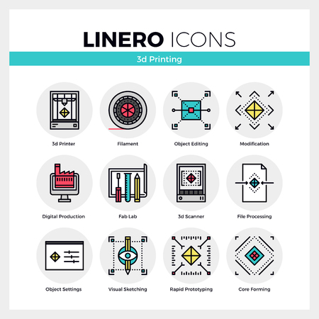 Line icons set of 3D printing, volumetric modeling machine. Modern color flat design linear pictogram collection. Outline vector concept of mono stroke symbol pack. Premium quality web graphics material.