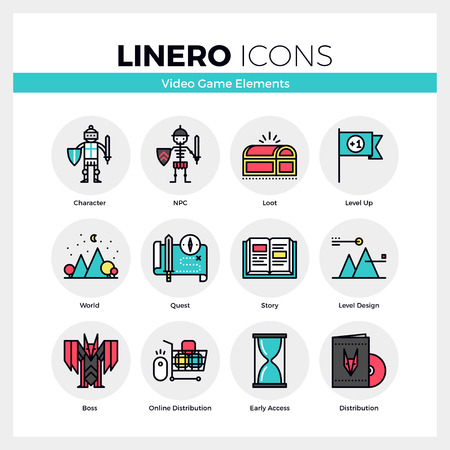 Line icons set of video game character and NPC development. Modern color flat design linear pictogram collection. Outline vector concept of mono stroke symbol pack. Premium quality web graphics material. Ilustração