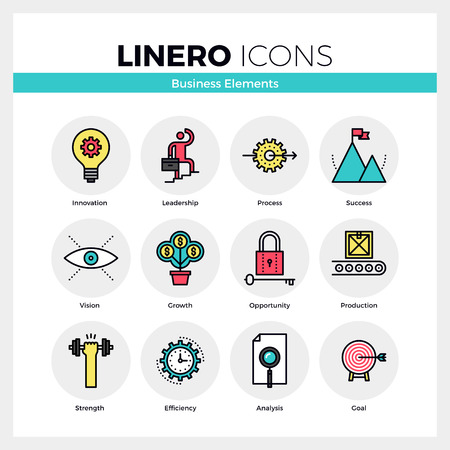 results: Line icons set of business growth and opportunity vision. Modern color flat design linear pictogram collection. Outline vector concept of mono stroke symbol pack. Premium quality web graphics material.