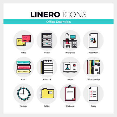 essential: Line icons set of office essential tools, business supplies. Modern color flat design linear pictogram collection. Outline vector concept of mono stroke symbol pack. Premium quality web graphics material. Illustration
