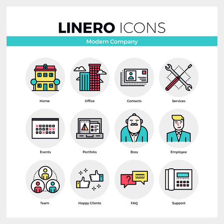 building real estate modern: Line icons set of business company services, office team. Modern color flat design linear pictogram collection. Outline vector concept of mono stroke symbol pack. Premium quality web graphics material. Illustration