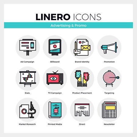 Line iconen set van reclame media, marketing promotie. Modern kleur plat design lineaire pictogram collectie. Schetsen vector concept van de mono slag symbool verpakking. Premium kwaliteit web graphics materiaal.