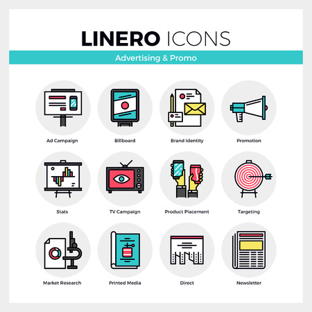 communication icons: Line icons set of advertising media, marketing promotion. Modern color flat design linear pictogram collection. Outline vector concept of mono stroke symbol pack. Premium quality web graphics material.