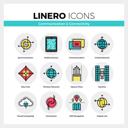 line material: Line icons set of network connection, mobile communication. Modern color flat design linear pictogram collection. Outline vector concept of mono stroke symbol pack. Premium quality web graphics material. Illustration