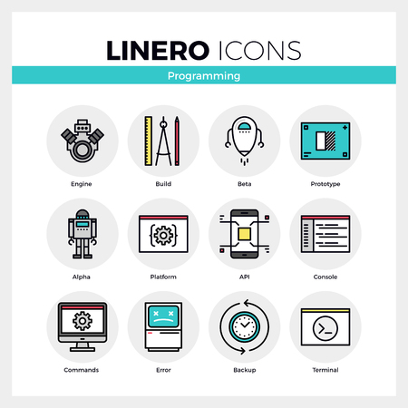 develop: Line icons set of computer programming and software develop. Modern color flat design linear pictogram collection. Outline vector concept of mono stroke symbol pack. Premium quality web graphics material.